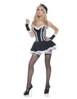 Svart Blonder Fransk Stuepike Kostyme