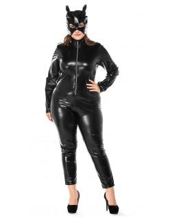 Våt Look Catwoman Kostyme Store Størrelser