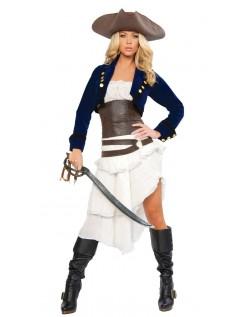 Deluxe Kolonial Halloween Pirat Kostyme