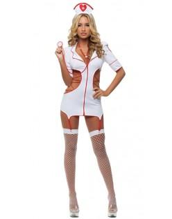 Halloween Hvit Sykepleier Kostyme