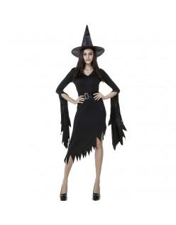 Svart Gothic Halloween Heks Kostyme