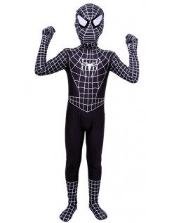 Klassisk Lycra Spiderman Kostyme Barn Svart