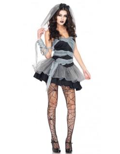 Svart Halloween Zombie Brud Kostyme
