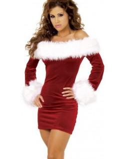 Sexy Julenisse Pels Trimmet Fløyels Nissekostyme