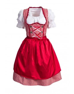 Rød Bavarian Tyroler Kostyme Oktoberfest Kostyme