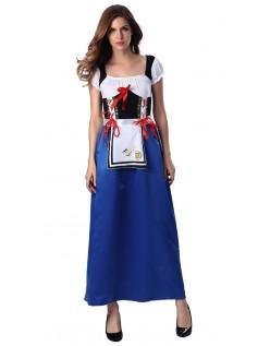 Lang Oktoberfest Kostyme Blå Maid Kostyme
