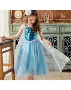 Sequin Frozen Elsa Kostyme Prinsesse Kjole Barn