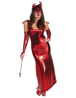 Rød Lang Halloween Djevel Kostyme