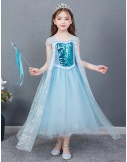 Sequin Frozen Elsa Kostyme Prinsessekjoler Barn