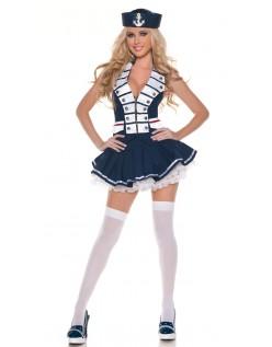 Hvit Stripet Matros Kostyme