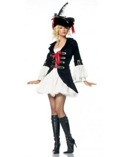 Svart Kaptein Swashbuckler Pirat Kostyme Dame