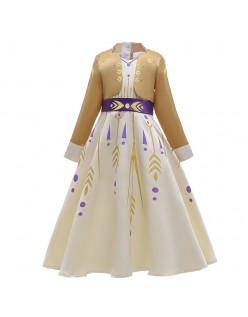 Barn Frozen 2 Kostymer Anna Prinsessekjole Champagne
