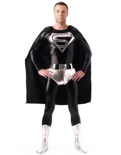 Skinnende Metallisk Superman Kostyme Svart Og Hvit