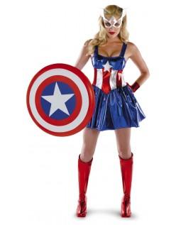 Kvinnelig Captain America Kostyme Superhelt Kostyme
