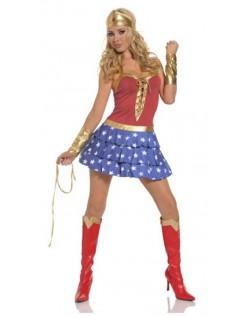 Rød Og Blå Wonder Woman Kostyme