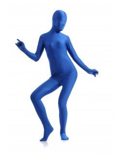 Morphsuit Skinsuit Lycra Spandex Drakt Heldekkende Dame Blå