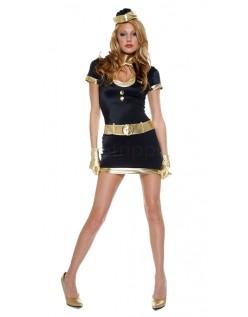 Svart Og Gull Flyvertinne Kostyme