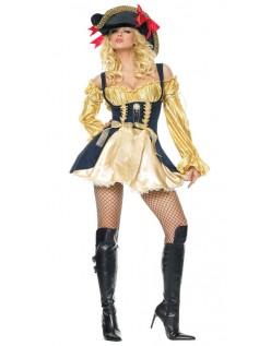 Gul Svart Sexy Pirat Kostyme Dame