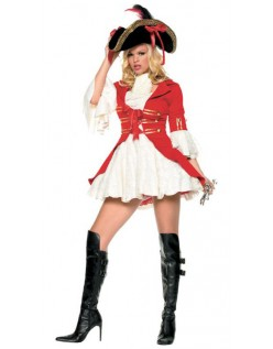 Rød Sexy Piratkaptein Kostyme Dame