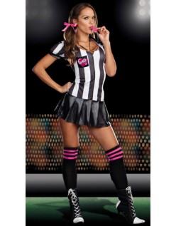Stripete Sassy Fotballdommer Kostyme Dame