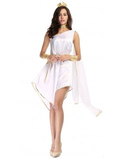 Romersk Kostyme Hvit Gudinne Gresk Kostyme