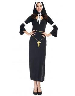 Svart Langermet Nonne Kostyme