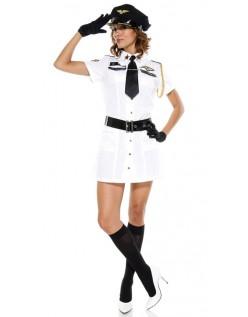 Hvit Flyvertinne Kaptein Kostyme