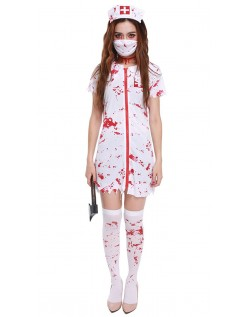Horror Blodig Zombie Sykepleier Kostyme
