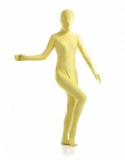 Morphsuit Skinsuit Lycra Spandex Drakt Heldekkende Dame Gul