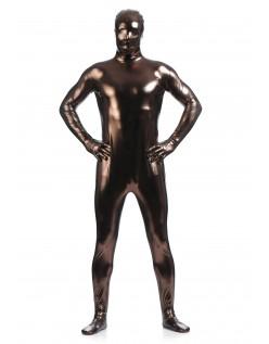 Morphsuits Mann Heldekkende Metallic Skinnende Drakt Brun