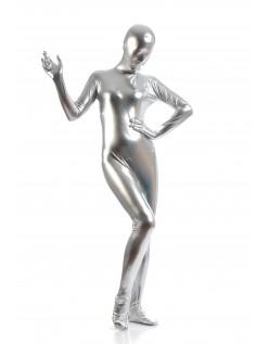 Morphsuits Dame Heldekkende Metallic Skinnende Drakt Sølv