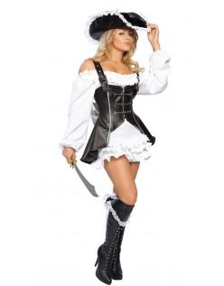 Svart Og Hvit Akryl Pu Pirat Kostyme