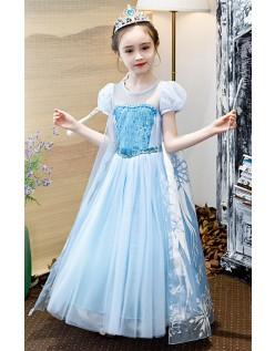 Deluxe Dronning Elsa Frozen Kjole Barn Sequin