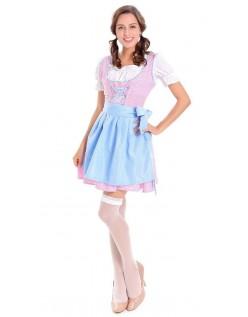 Tjenestepike Oktoberfest Kostyme Tyrolerkjole Blå