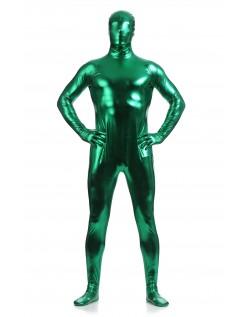 Morphsuits Mann Heldekkende Metallic Skinnende Drakt Grønn
