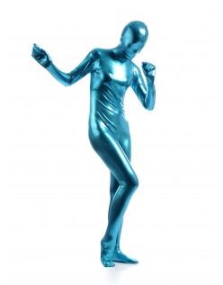 Morphsuits Dame Heldekkende Metallic Skinnende Drakt Lyseblå