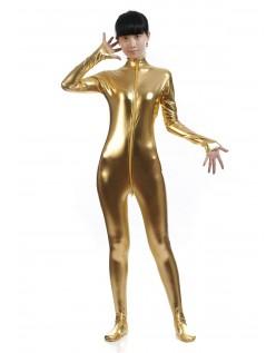 Metallisk Skinsuits Dame Morphsuits Uten Hette Gull