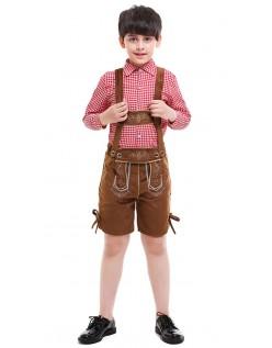 Bayersk Oktoberfest Lederhosen Kostyme Barn Brun