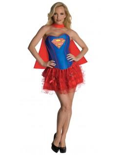 Glitter Korsett Superwoman Kostyme Dame