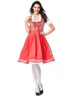 Pledd Oktoberfest Kostyme Dame Rød