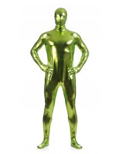 Morphsuits Mann Heldekkende Metallic Skinnende Drakt Grønn Gul