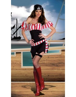 Rød Sleeveless Fiber Sexy Pirat Kostyme Voksen