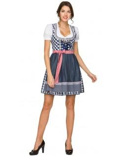 Oktoberfest Kostyme Mini Dirndl Kjole Blå