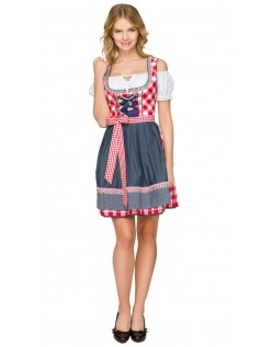 Oktoberfest Kostyme Mini Dirndl Kjole Rød