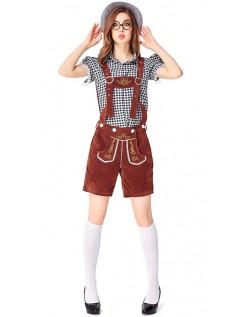 Dame Tradisjonell Bayersk Oktoberfest Lederhosen Kostyme Svart Brun