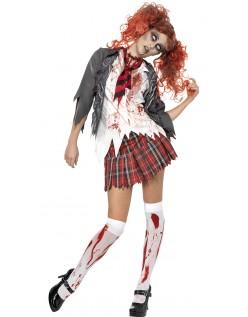 Levende Døde Zombie Skolepike Kostyme