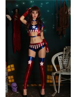 Sexy America Superhelt Kostyme Sett