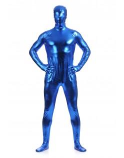 Morphsuits Mann Heldekkende Metallic Skinnende Drakt Blå