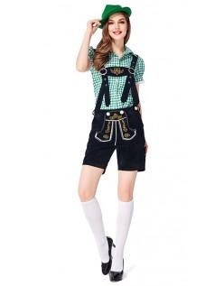 Dame Tradisjonell Bayersk Oktoberfest Lederhosen Kostyme Grønn Svart