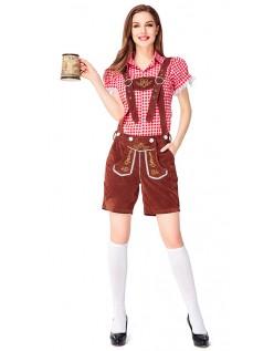 Dame Tradisjonell Bayersk Oktoberfest Lederhosen Kostyme Rød Brun